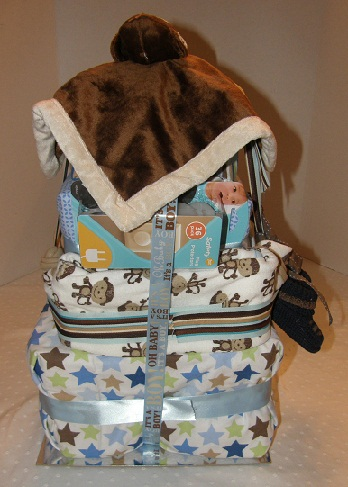 rearview of Five Little Monkeys diaper cake