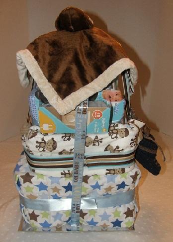 rearview of Five Little Monkeys diaper cake