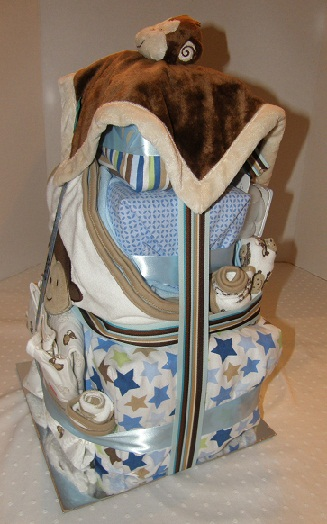 side view of Five Little Monkeys diaper cake
