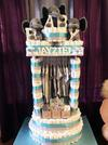Close up view of diaper cake