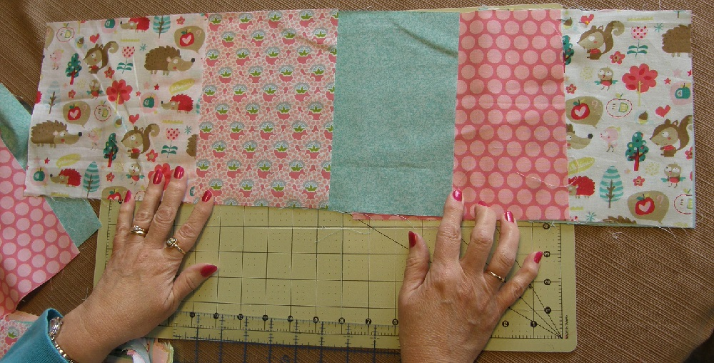laying out the quilt pattern