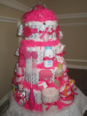 Traditional Girl S Gray Chevron Amp Hot Pink Diaper Cake